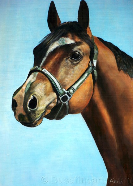 "Portrait of horse. Oil on canvas. 9""x12"""